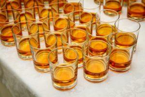 bourbon festival top view of glasses,
