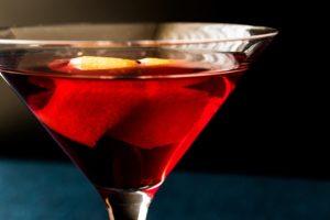 Manhattan Cocktails with a cherry garnish.