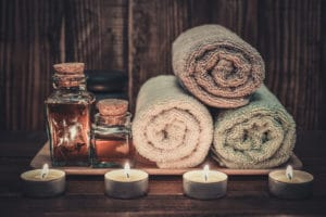 Spa supplies towels, candles and oils