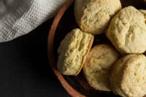 Scones made with buttermilk and flour, close up in earthenware bowl in My Old Kentucky Home