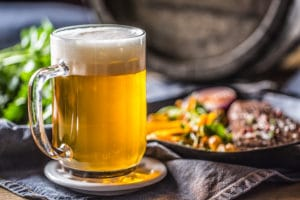 Glass of beer with delicious food at Bardstown Restaurants