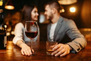 Young couple enjoying wine and bourbon at Bardstown Restaurants