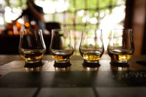 Kentucky Bourbon Flight with selective focus on four samples