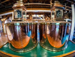 Image of original copper stills at Makers Mark Kentucky bourbon distillery.