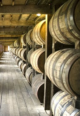 Tours of distilleries with bourbon barrels