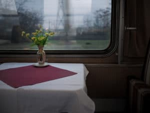 Train dining car with window